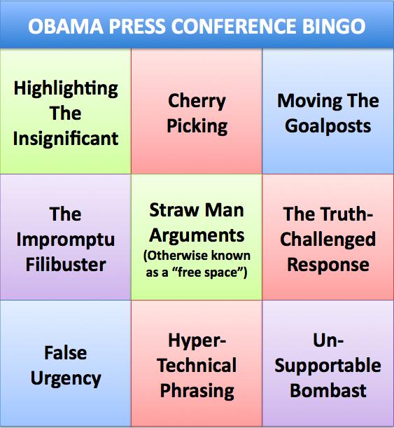 Obama Press Conference Bingo
