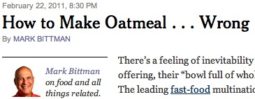How to Make Oatmeal Wrong